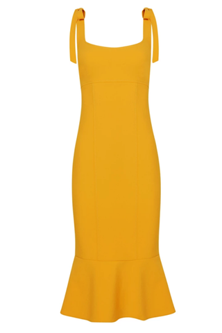 SCALLOPED TUBE MIDI DRESS