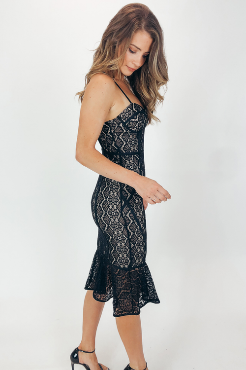 BLACK CONTRAST LACE CORSET DRESS