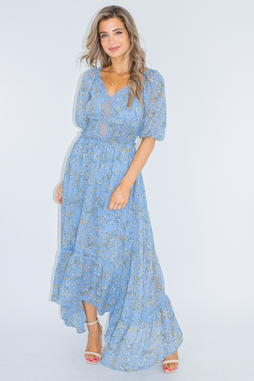 BLUE FLORAL SMOCK WAIST MAXI