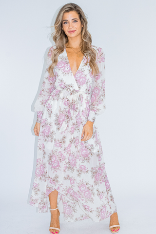 ORCHID WRAP MIDI DRESS