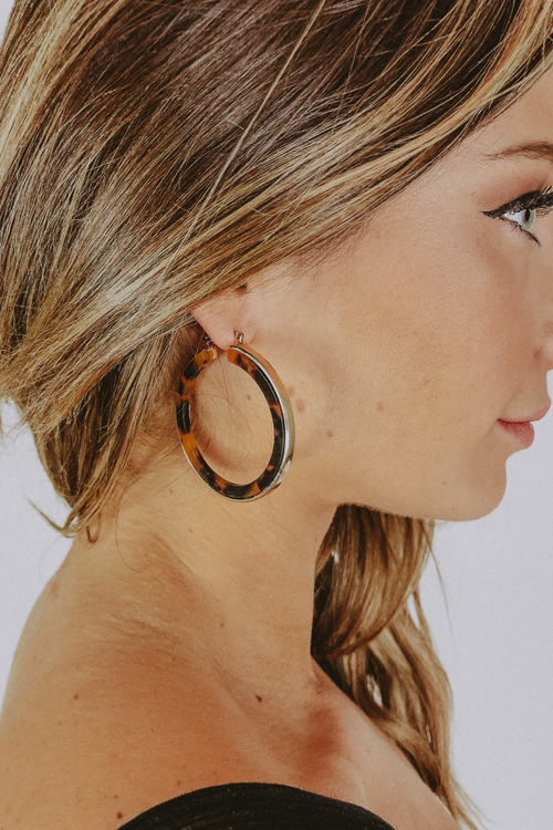TORTOISE AND GOLD HOOPS