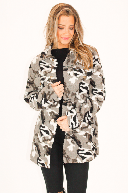 CAMO COLLARED FUR JACKET