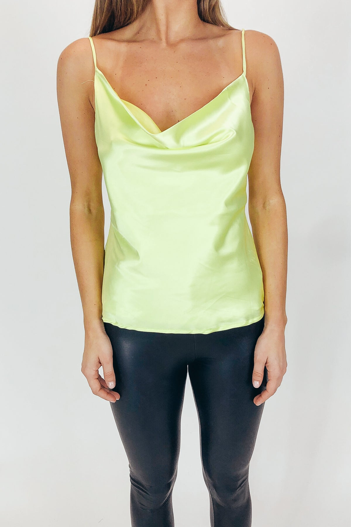 SATIN COWL NECK TOP IN LIME