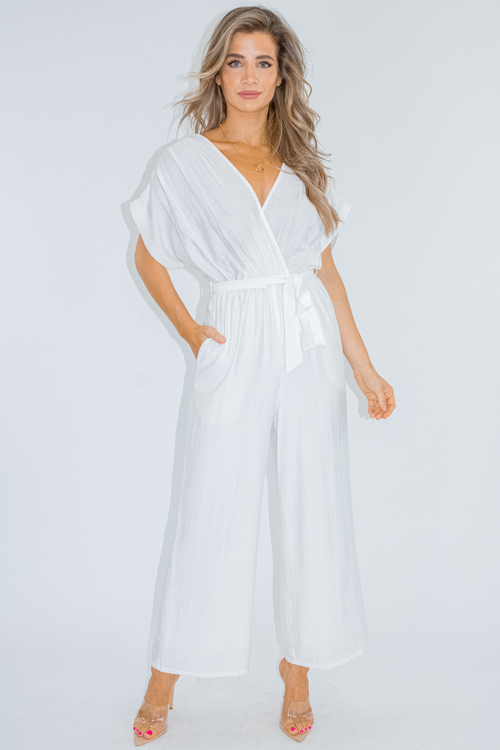 WHITE CROSSOVER JUMPSUIT