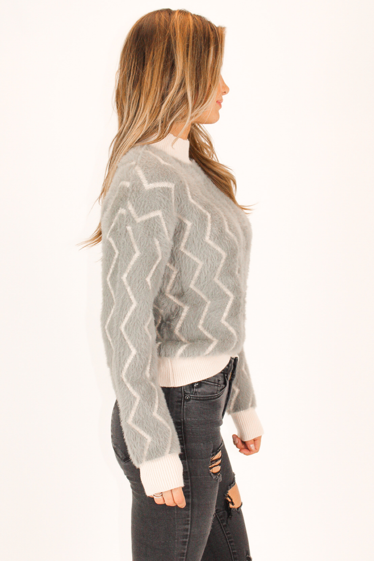 CHARCOAL ZIGZAG MOHAIR SWEATER