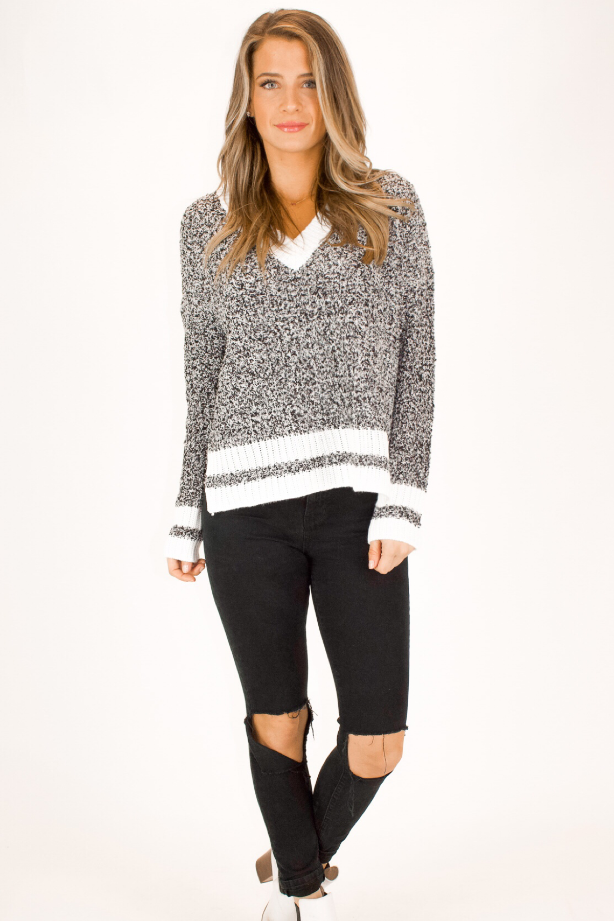CHARCOAL KNIT TWO TONE SWEATER