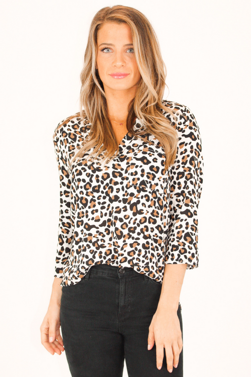 LEOPARD TAB-UP SLEEVES WOVEN TOP IN IVORY