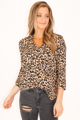LEOPARD TAB-UP SLEEVES WOVEN TOP IN TAUPE