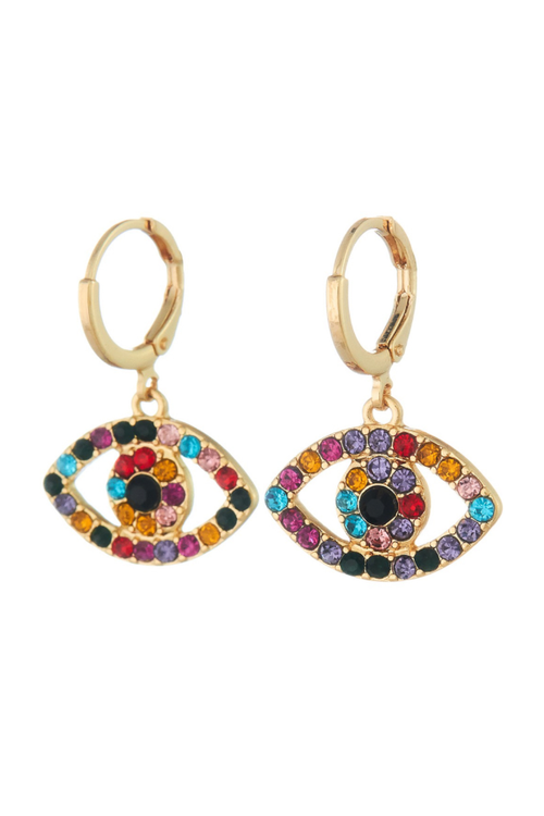 MULTICOLOR EVIL EYE DANGLE EARRING