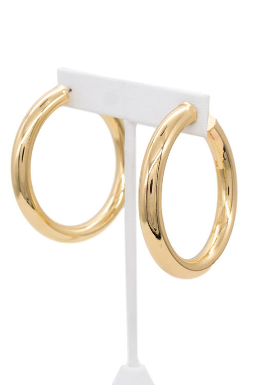 GOLD BRASS TUBE HOOP EARRINGS