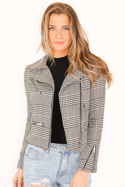 HOUNDSTOOTH ZIPPERED JACKET
