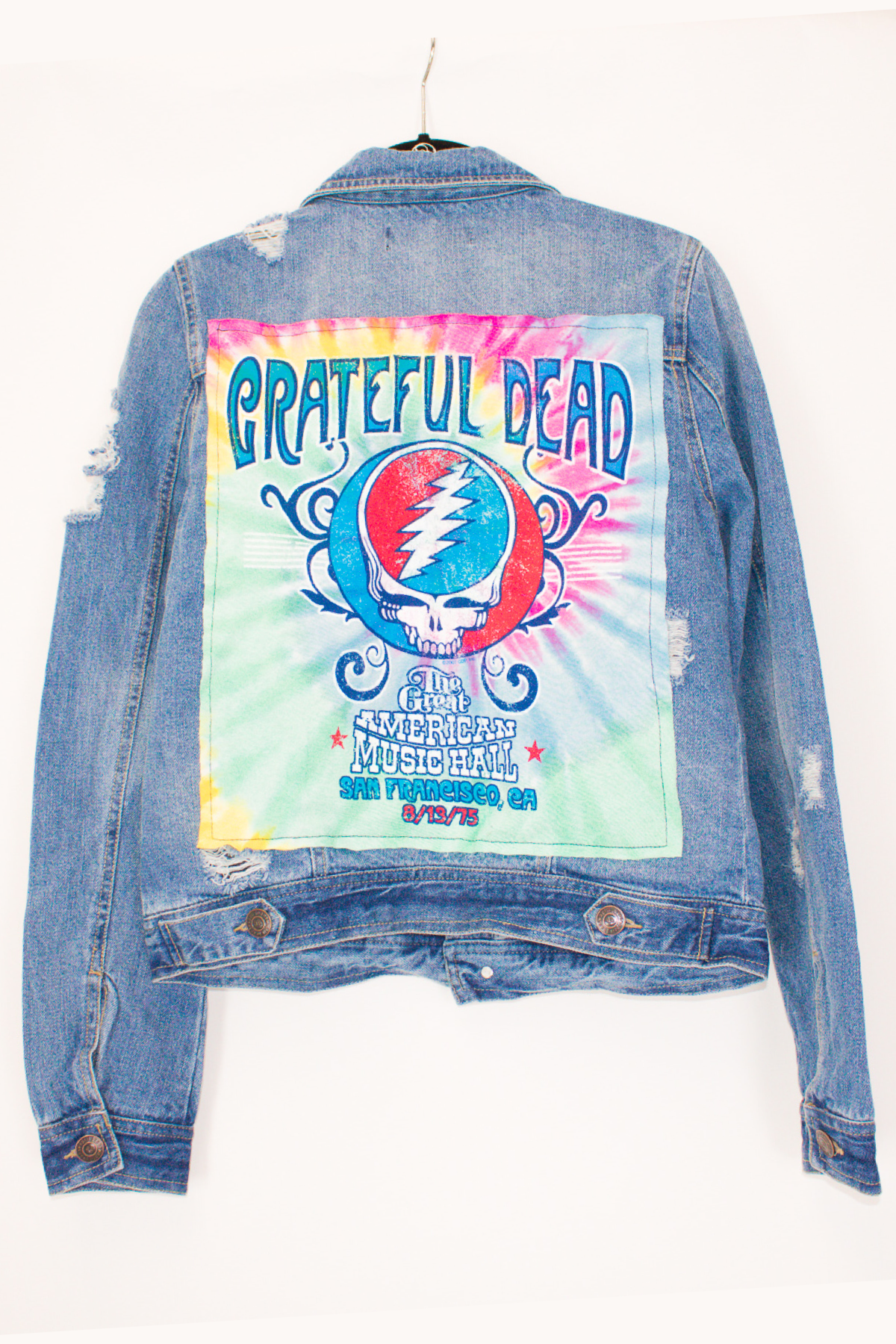 TIE DYE GRATEFUL DEAD PATCHWORK DENIM JACKET