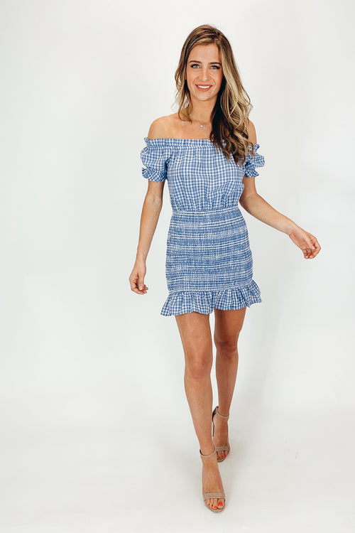 BLUE IRIS CHECK SMOCKED DRESS / FINAL CLEARANCE