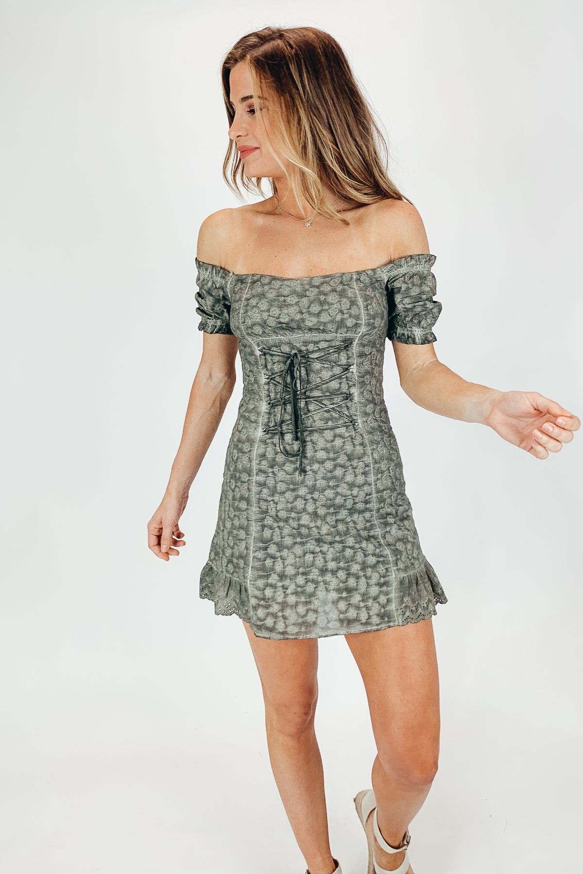 OLIVE LACE UP DRESS / FINAL CLEARANCE