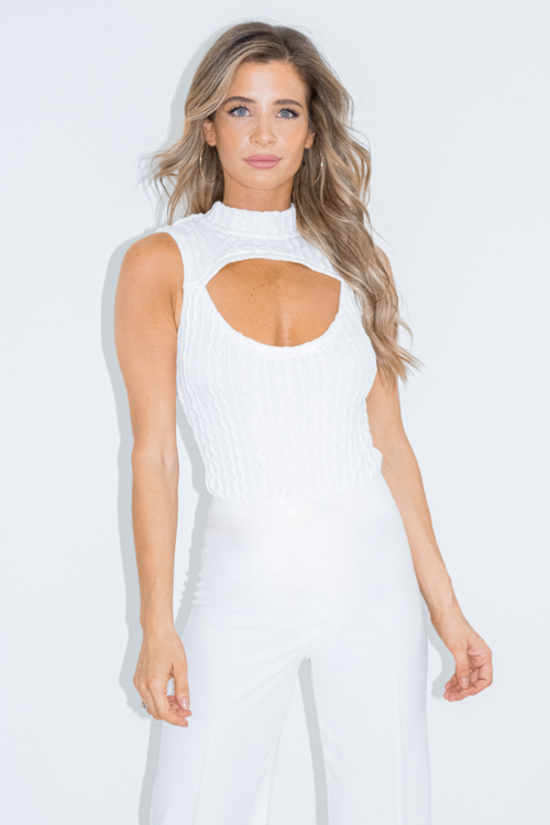 WHITE CABLE KNIT BODYSUIT