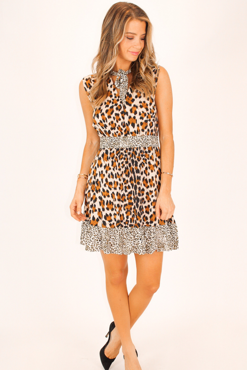 LEOPARD TIE NECK TIERED DRESS