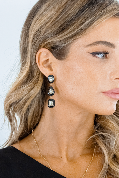 TRIPLE GEO DROP EARRINGS