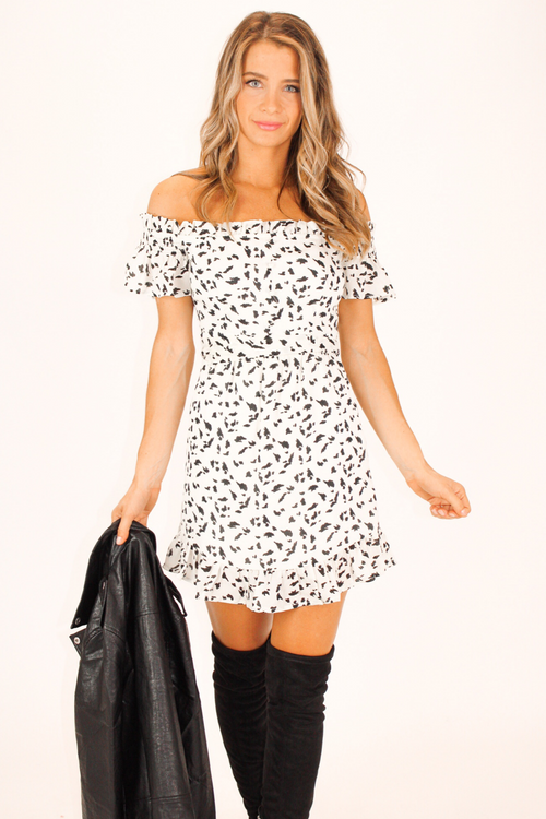 DALMATIAN PRINT OFF THE SHOULDER DRESS