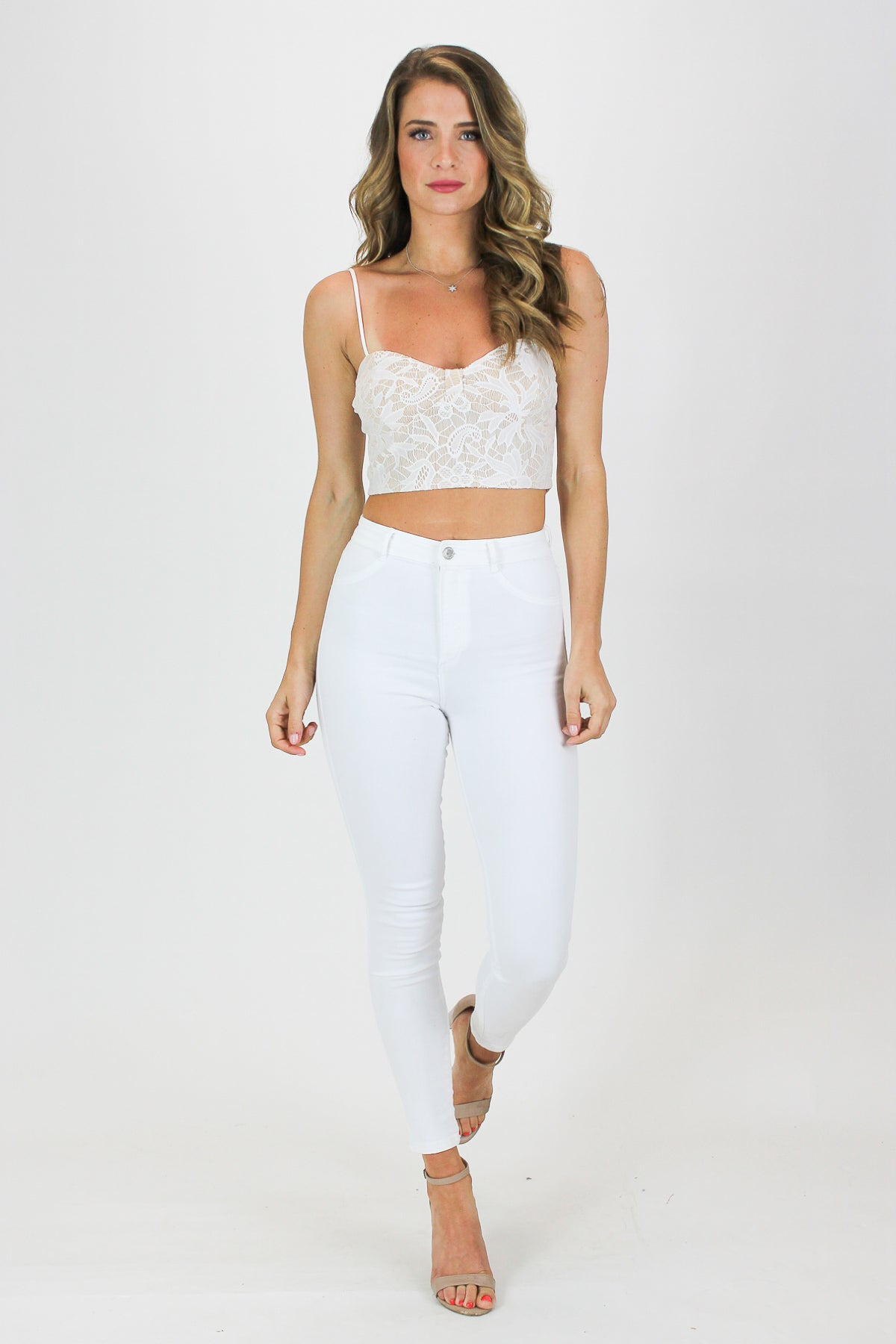 LACE CROP TANK IN WHITE / FINAL CLEARANCE