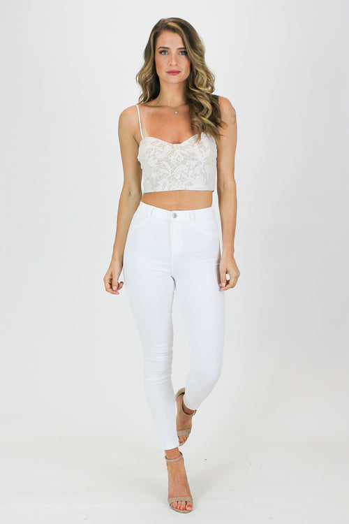 LACE CROP TANK IN WHITE