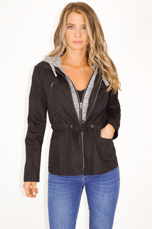 BLACK + GREY HOODED UTILITY JACKET