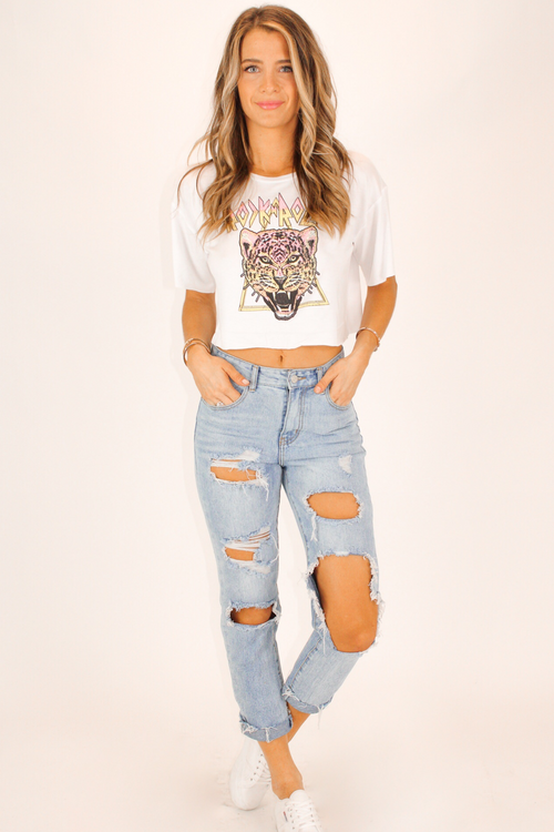 ROCK + ROLL GRAPHIC CROP IN WHITE