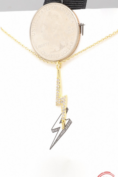 RHODIUM DIPPED LIGHTNING BOLT NECKLACE