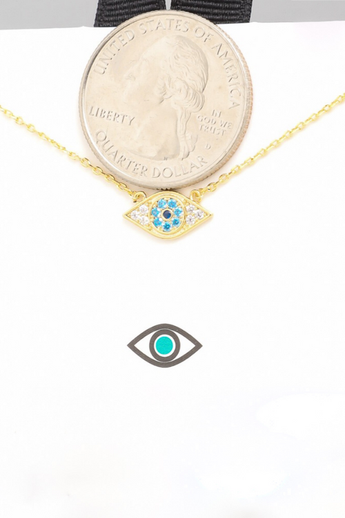 EVIL EYE RHODIUM DIPPED NECKLACE