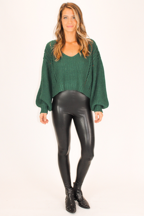 SWOOP NECK KNIT IN FOREST GREEN