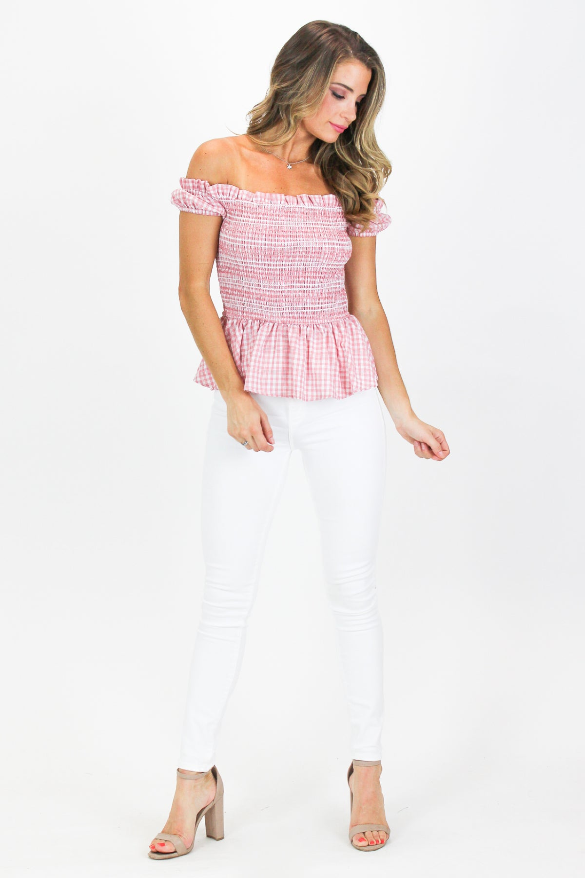 BLUSH CHECK SMOCK TOP