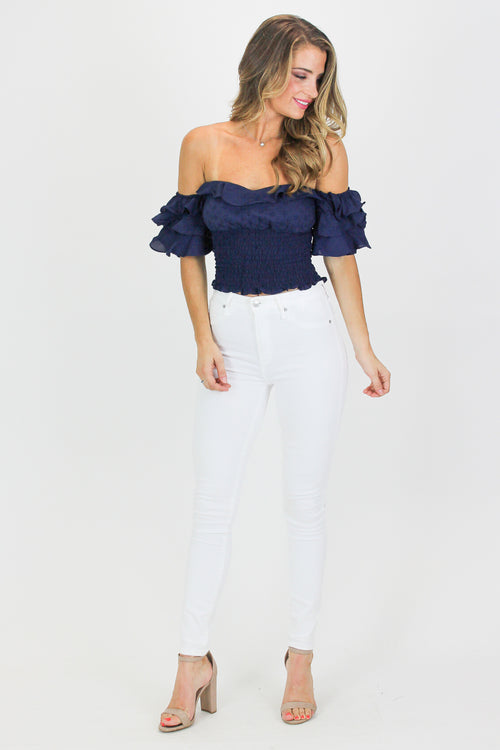 EYELET OFF SHOULDER CROP TOP IN NAVY