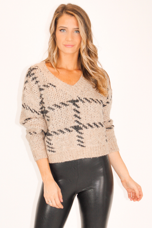 Stitch Print Taupe Sweater