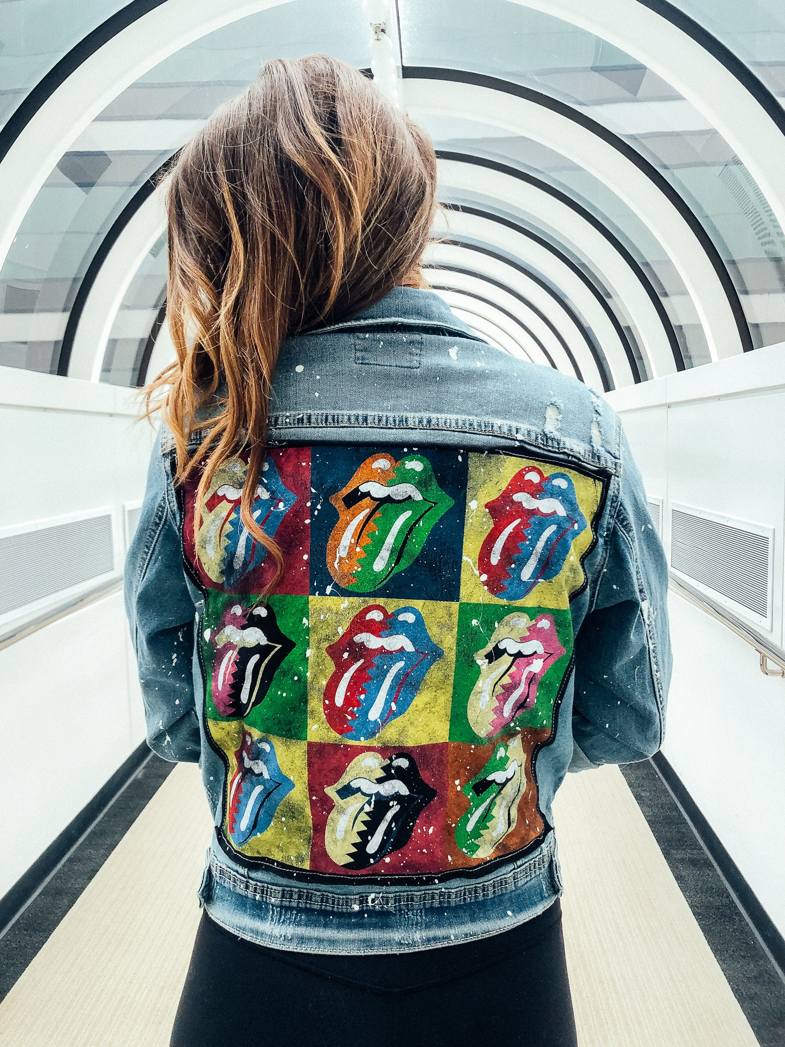 COLORFUL ROLLING STONES DENIM PATCHWORK JACKET