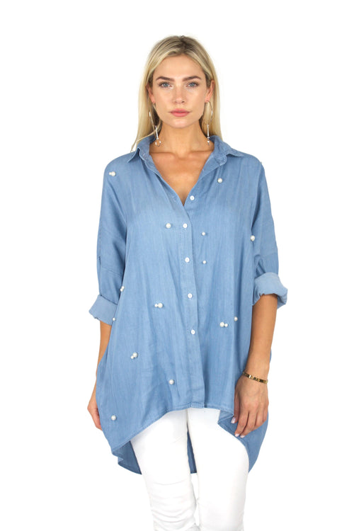 OVERSIZE FRISKY BUSINESS BUTTON UP