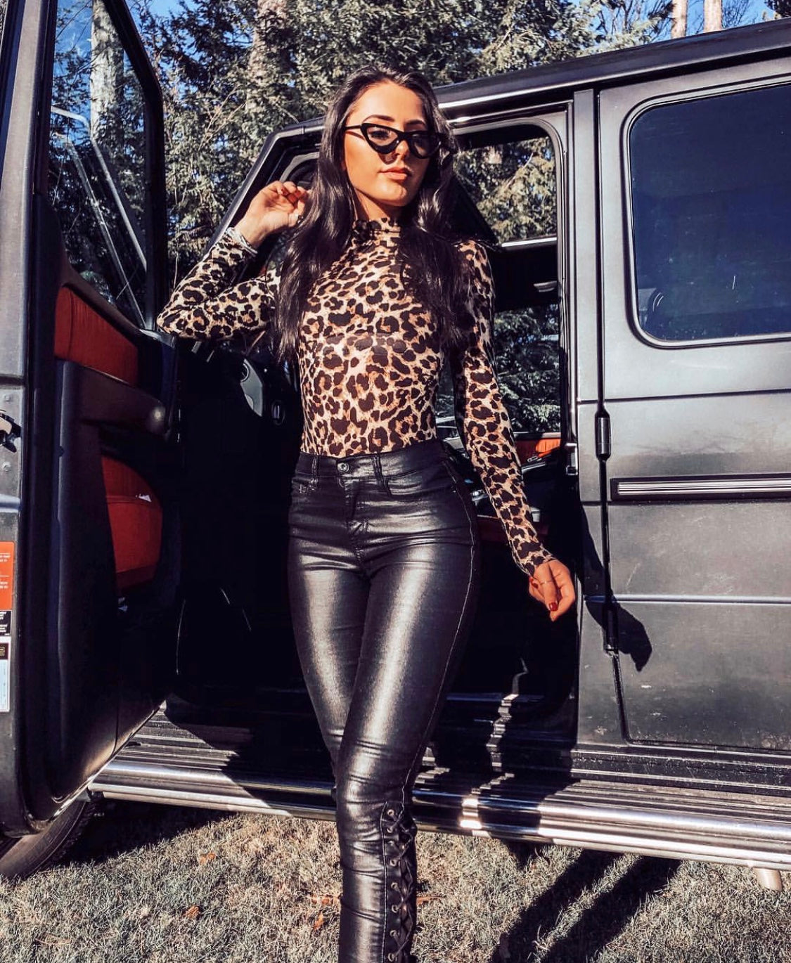 LEOPARD TURTLENECK BODYSUIT