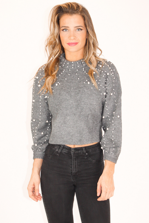 GREY PEARL TURTLENECK SWEATER