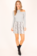 LEATHER GREY SNAKESKIN SKIRT