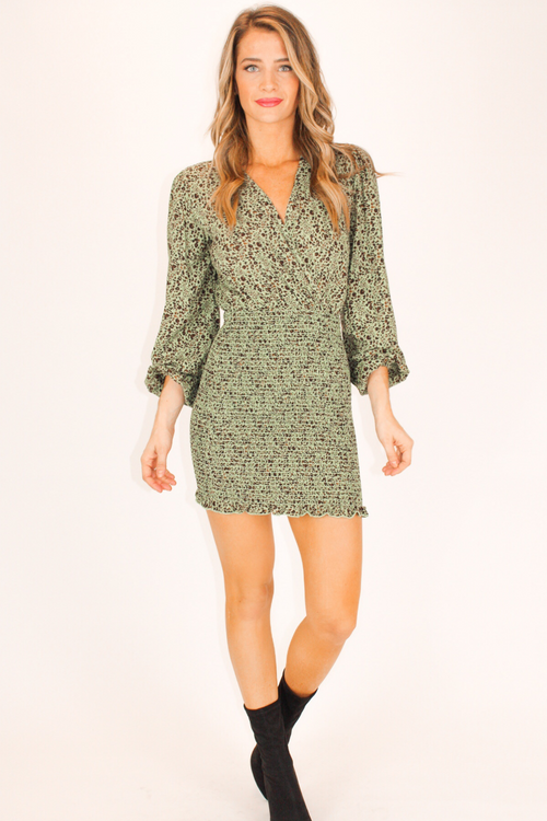 MOSSY GREEN SMOCKED DRESS