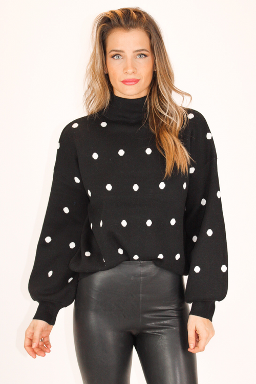 RIBBED HEM POLKA DOT SWEATER