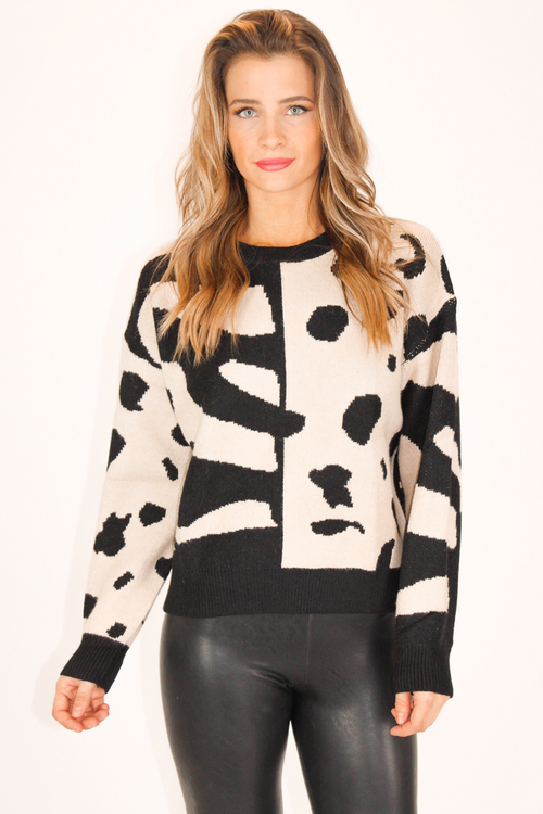ANIMAL PRINT PATCHWORK SWEATER