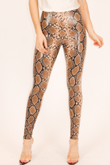 COMMANDO FAUX LEATHER SNAKESKIN LEGGINGS