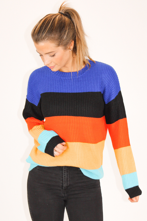 COBALT BLUE MULTISTRIPE SWEATER