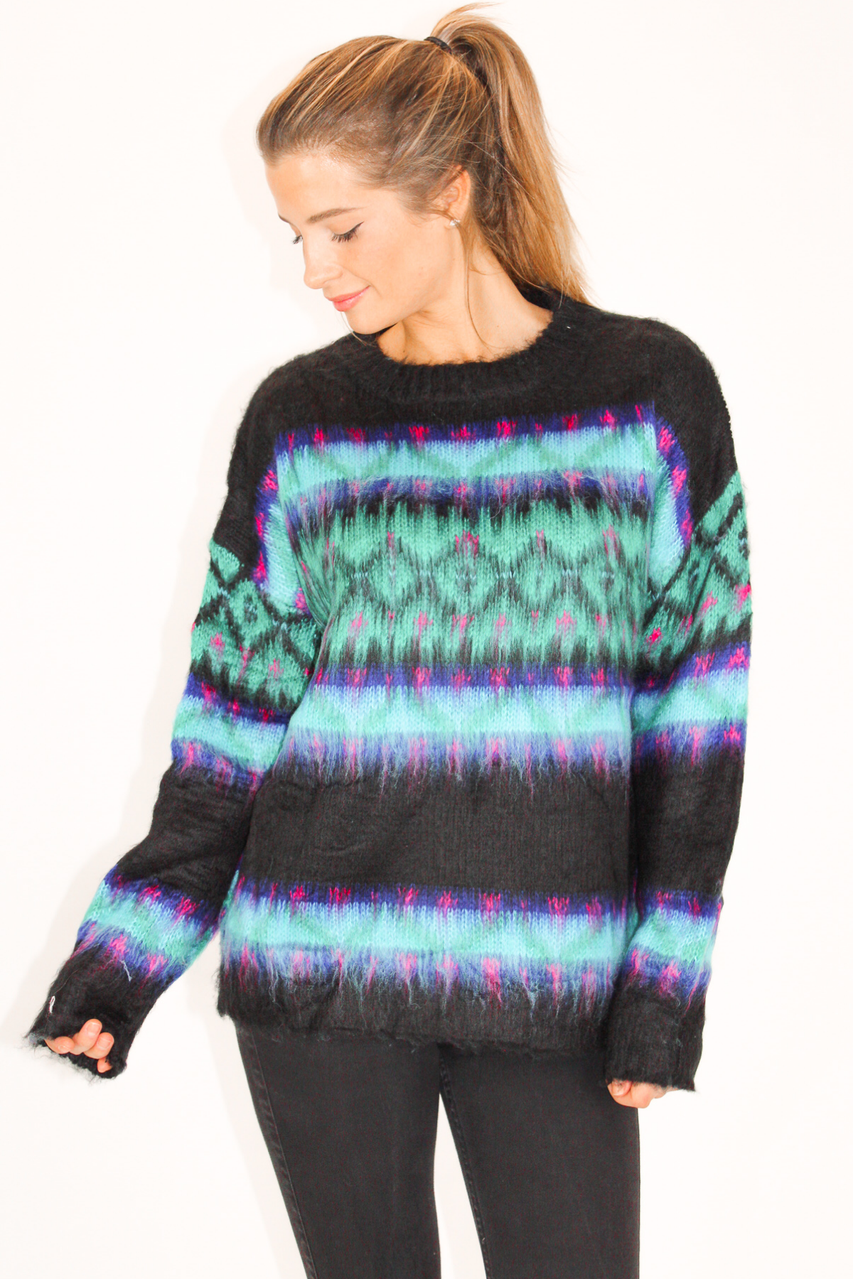 BLACK + BLUE STRIPE OVERSIZE SWEATER