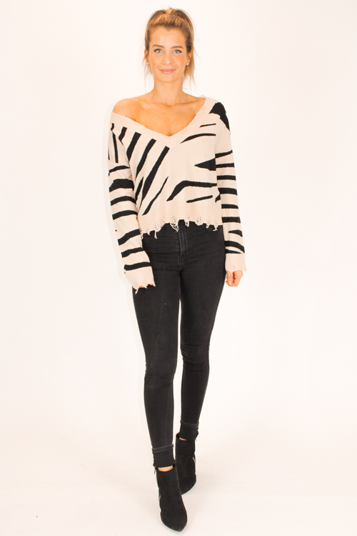 TAN ZEBRA DISTRESSED SWEATER