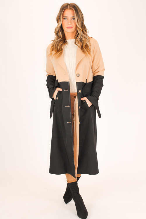 COLOR-BLOCK TRENCH COAT