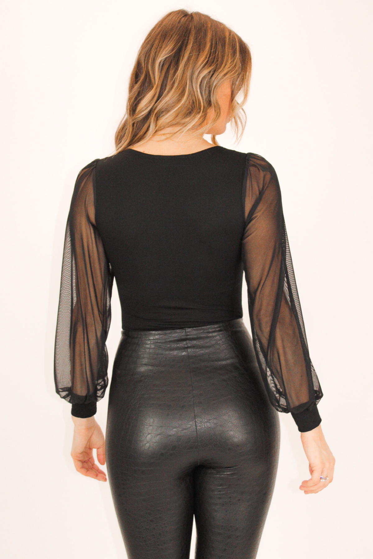 BLACK MESH SLEEVE BODYSUIT