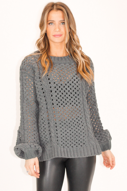 CHARCOAL CHENILLE KNIT SWEATER