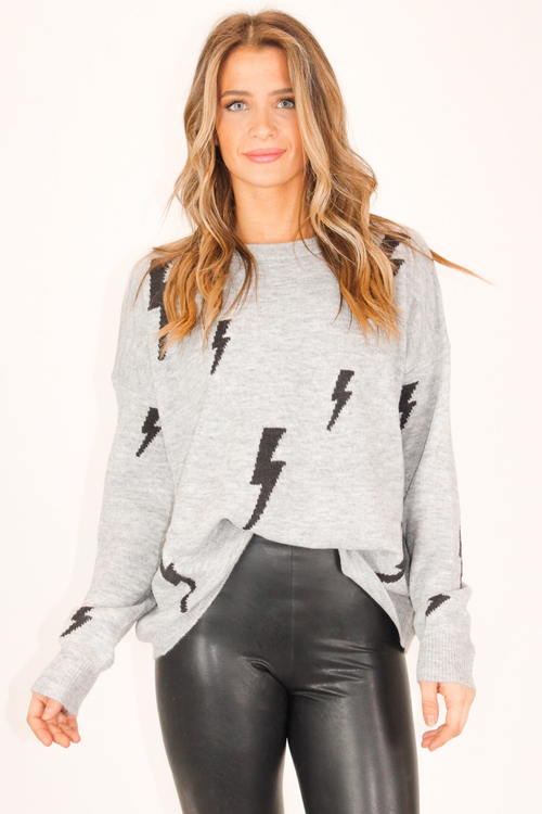 GREY LIGHTNING BOLT SWEATER