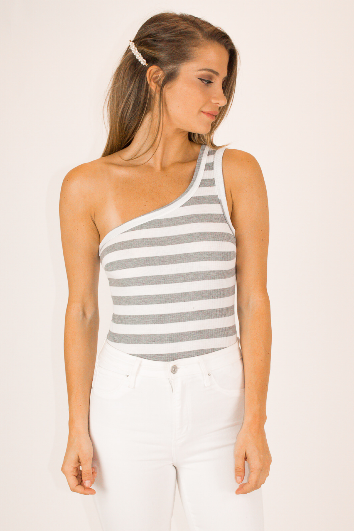 ONE SLEEVE GREY STRIPE CROP TOP / FINAL CLEARANCE