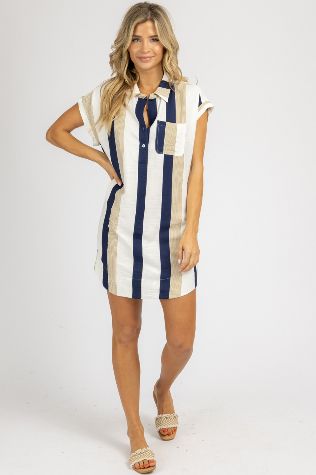 INDIGO + IVORY STRIPED MINI DRESS